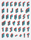 Fonts Pixel isometric. For design stock illustration