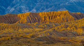Fonts Point. And Borrego Badlands Lighted By Sunset Colors With Santa Rosa Mountains In Background, Anza Borrego Desert State Park, Californis Stock Photo