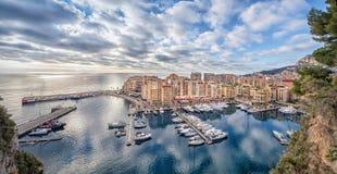 Fontvieille区和港口在摩纳哥 免版税图库摄影