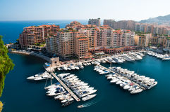 Fontvieille disrict and harbor. Monaco district of Fontvieille, with its harbor and wealthy buildings built on a platform Stock Photography