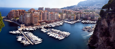 Fontvieille disrict and harbor. Panorama of Fontvieille district of Monaco Royalty Free Stock Images