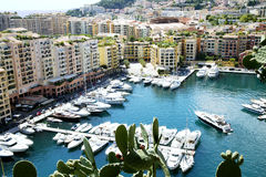 Fontvieille harbour in principality Monaco Royalty Free Stock Photography