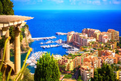 Fontvieille and its beautiful marina as seen from above. Artistic view of the lovely Fontvieille marina in Monaco Royalty Free Stock Photography