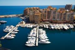 Fontvielle hamn, Monaco Arkivbilder