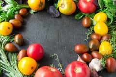 Foo vegetariano sano plano de la opinión del ajo del romero de la albahaca de los tomates fotografía de archivo