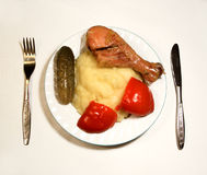 Food....(1). Here is a plate of food with meat, potatos, knife and furch Royalty Free Stock Photos