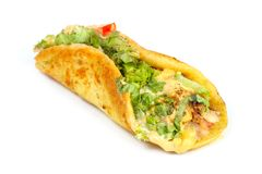 Food. A healthy breakfast of vegitable roll on white stock photos
