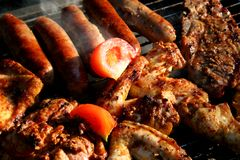 Food. Meat on the grill Stock Image