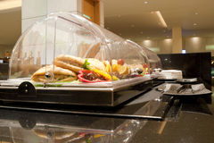 Food. Refrigerated food on a transit lounge of business class Royalty Free Stock Images