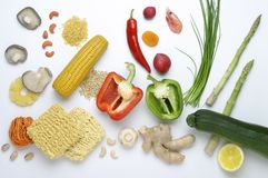 Food. Set of various vegetables on a table Stock Photos