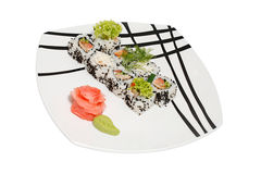 Food. Sushi on a plate and salad Stock Photography