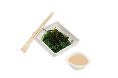 Food. Seaweed on a plate and soup Stock Image