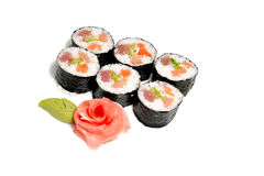Food. Sushi on a plate and rose Stock Image