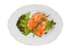 Food. Stake from a salmon on a white plate Royalty Free Stock Photos