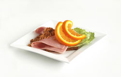 Food. Danish food consist of salami,dry unions,salad and cheese Royalty Free Stock Photo