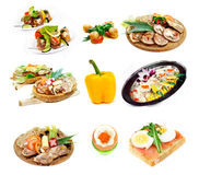 Food. Set of delicious helathy food isolated on white Royalty Free Stock Photos