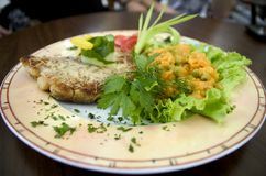 Fish meal with salad. Closeup of fish meal of plate with salad in restaurant Royalty Free Stock Photography