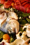 Food. Mediterranean fish grilled, Italy, Liguria Royalty Free Stock Photos