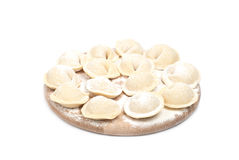 Food. Meat dumplings on wooden plate Stock Photo