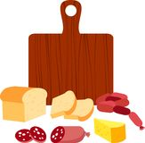 Food. Bread, sausage and cheese sandwich Stock Photo