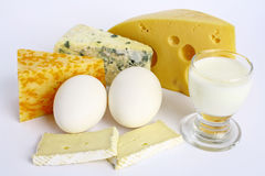 Food. Healthy and tasty food - cheese, eggs and milk Royalty Free Stock Images