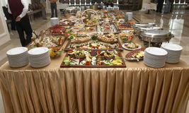 Food 2. Close up buffet table arrangement catering stock images