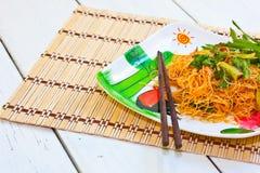 Food. Stir-fried yellow noodles thai Royalty Free Stock Image