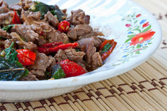Food. Stir basil with meat for health Royalty Free Stock Photo