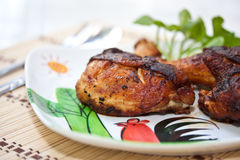 Food. Fried chicken in dish white Royalty Free Stock Photography