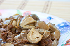 Food. Stir-fried mushrooms with meat Royalty Free Stock Photo