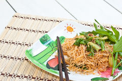 Food. Stir-fried noodles in meal time Stock Photo