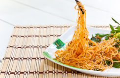 Food. Stir-fried noodles in meal time Royalty Free Stock Image