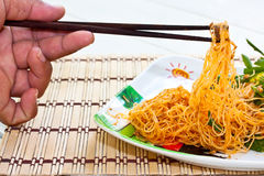 Food. Stir-fried noodles in meal time Royalty Free Stock Images