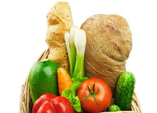 Food. Fresh vegetables and bread isolated on white background Royalty Free Stock Photo