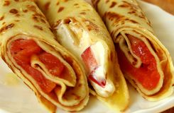 Food. Spring roll with salmon and cheese stock images