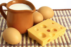 Food. Dairy products and eggs Royalty Free Stock Image