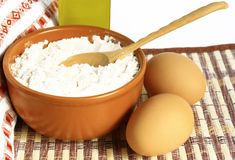 Food. Flour, eggs and olive oil Stock Image