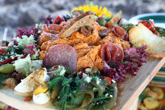Food. Delicious appetizers on a wooden board Royalty Free Stock Photography