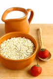 Food. A bowl of oatmeal and a jug of milk on wooden background Stock Image
