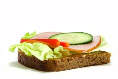 Food. Toast/sandwich with lettuce, ham, cucamber and paprika Royalty Free Stock Photos
