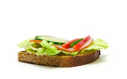 Food. Toast/sandwich with lettuce, ham, cucamber and paprika Royalty Free Stock Images