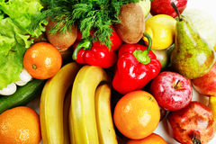Food. Fresh Vegetables, Fruits and other foodstuffs. Shot in a studio Stock Photos