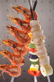 Food. Seafood barbecue with prawn and vegetable royalty free stock image
