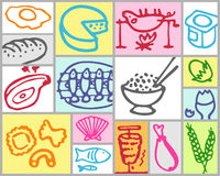 Food. Vector hand drawn color set Stock Photo