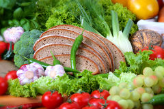Food. Photo of the wholefood (vegetables and bread Royalty Free Stock Photography