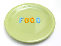 Food. Rubber plate with letters isolated in white background Royalty Free Stock Image