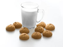 Food. Milk in a glass and cookies Stock Photos