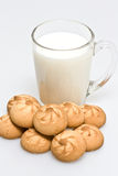 Food. Milk in a glass and cookies Royalty Free Stock Photo