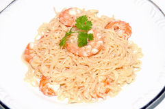 Food. Pasta with Shrimp royalty free stock photo