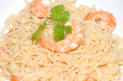 Food. Pasta with Shrimp royalty free stock images